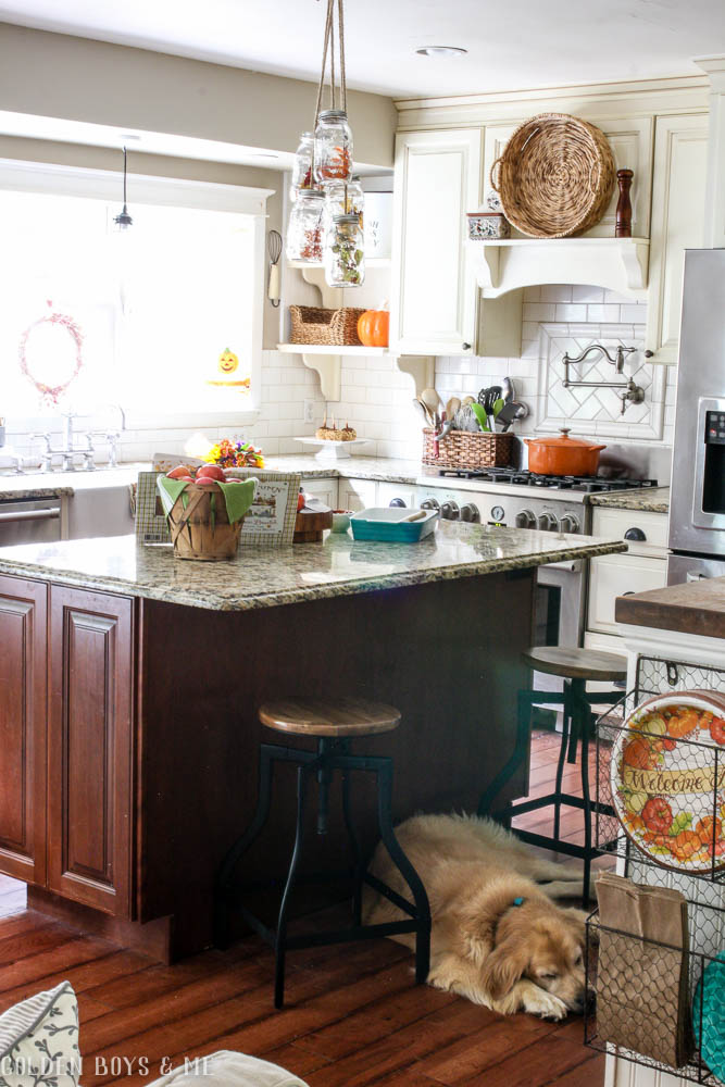 Farmhouse style kitchen in fall home tour