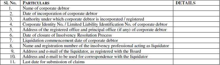 Regulation 12 of the Insolvency and Bankruptcy Board of India (Liquidation Process) Regulations, 2016