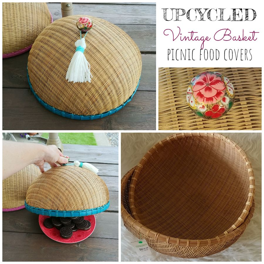 Upcycled Vintage Basket Picnic Food Covers - 7 Days of Thrift Shop Flips - Day Two