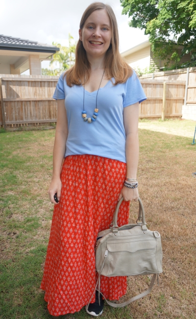 blue v-neck tee and red printed maxi skirt with grey Rebecca Minkoff mam bag |awayfromblue