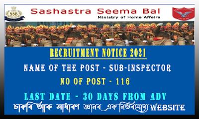 SSB SI Recruitment 2021(116 Post)
