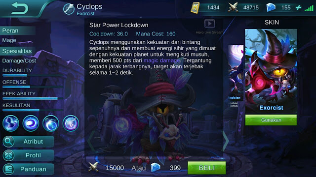 Cyclops, Jenis Hero Dalam Game Mobile Legends