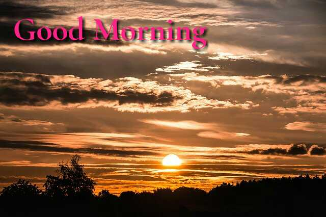 Beautiful good morning photo image with cloudi sunrise