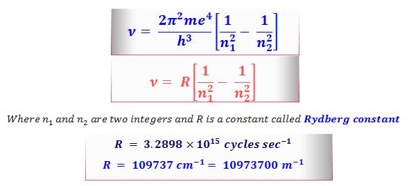 Hydrogen spectrum Rydberg equation