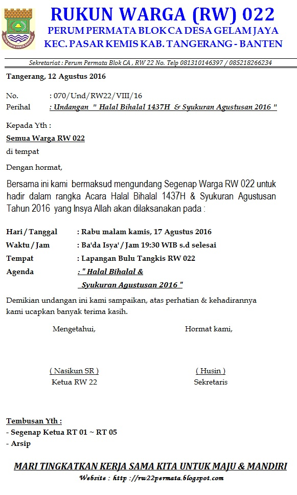 Perum Permata Tangerang Blok Ca Rw 022 Agustus 2016
