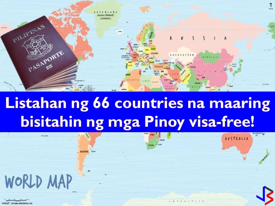 Are you a Philippine passport holder? Is yes, you can now visit 66 international destinations this year visa-free! With this, the Philippine passport is now the seventh strongest in Southeast Asia. This was after three more countries and territories gave the Philippines visa-free access raising the number of countries that offer visa-free access to the Philippines to 66. This includes China, Taiwan, and South Korea. China offered visa-free travel to Hainan to 59 countries, including the Philippines, in April, while visa-free access to Taiwan was offered beginning November 2017.  South Korea temporarily opened its borders for visa-free travel to the Philippines until April 2018 due to the 2018 Winter Olympics.   This is based on 2018 Henley Passport Index that looked into the travel freedom of countries based on an authoritative database of travel information.  The following are the complete list of 66 other countries and territories that offer visa free-access to the country.  Asia  Brunei Cambodia Hong Kong Indonesia Kyrgyzstan* Laos Macao Malaysia Maldives* Mongolia Myanmar Nepal* Singapore Sri Lanka** Thailand Timor-Leste* Vietnam China South Korea Taiwan Africa  Cape Verde* Comores Island* Cote d'Ivoire Djibouti* Gambia Guinea-Bissau* Kenya* Madagascar* Malawi* Mauritania* Mauritius* Morocco Mozambique* Rwanda Seychelles* Somalia* St Helena* Tanzania* Togo* Uganda* Oceania  The Cook Islands* Fiji The Marshall Islands* Micronesia Niue Palau Islands* Papua New Guinea* Samoa* Tuvalu* Vanuatu Carribean  Dominica Haiti St Lucia* St Vincent and the Grenadines Trinidad and Tobago* Americas  Bolivia Brazil Colombia Costa Rica Ecuador Nicaragua* Peru Suriname Middle East  Armenia* Iran* Israel *visa on arrival  Meanwhile, Japan unseated Singapore on the top ranking in the passport index. Japan gain visa-free access to 189 countries while Singapore — 188. Third on the rank are South Korea, Finland, France, Italy, Spain, and Sweden with visa-free access to 187 countries; Austria, Luxembourg, the Netherlands, Norway, Portugal, the United Kingdom, and the United States followed in fourth place at 186 countries.  The lowest ranked passport globally are Afghanistan and Iraq with 30 countries.