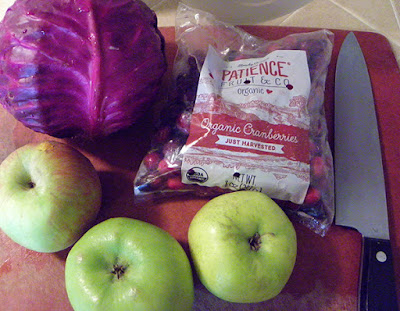 Purple cabbage, green apples, cranberries