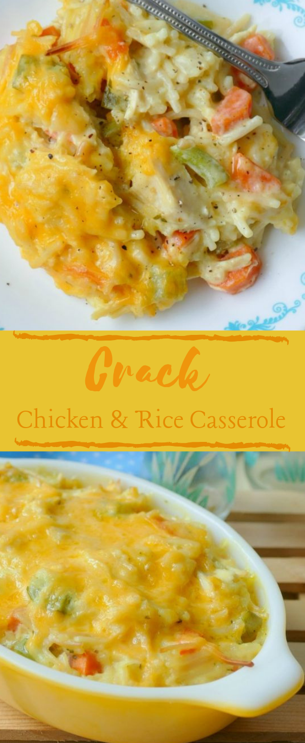Crack Chicken and Rice Casserole #Recipe #rice #dinner #healthy #breakfast