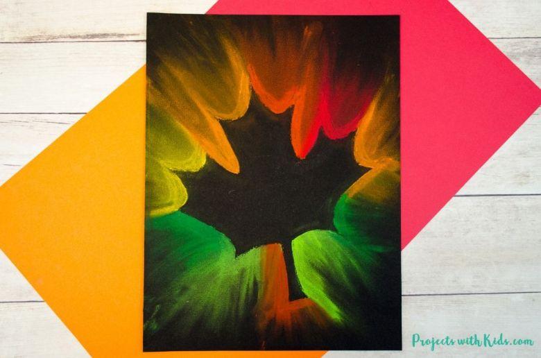 fall leaf chalk pastel art