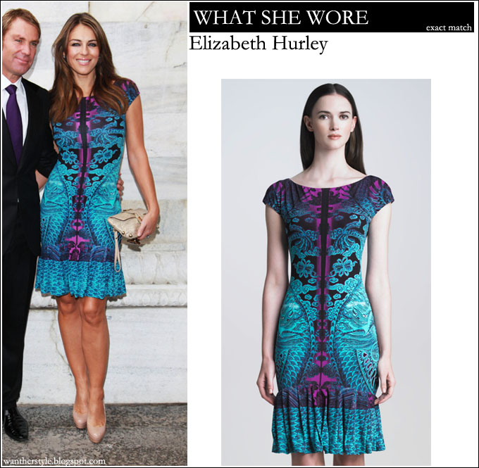 WHAT SHE WORE  Elizabeth Hurley in teal and purple dragon print ruffle hem Roberto  Cavalli dress ~ I want her style - What celebrities wore and where to buy  ... d1ca30448