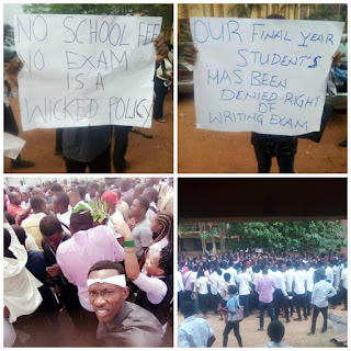 Enugu State University Students Protest 'No School Fees, No Exam Policy' (Photos)