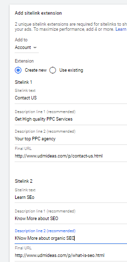 create site extensions for UDmideas in Google ad