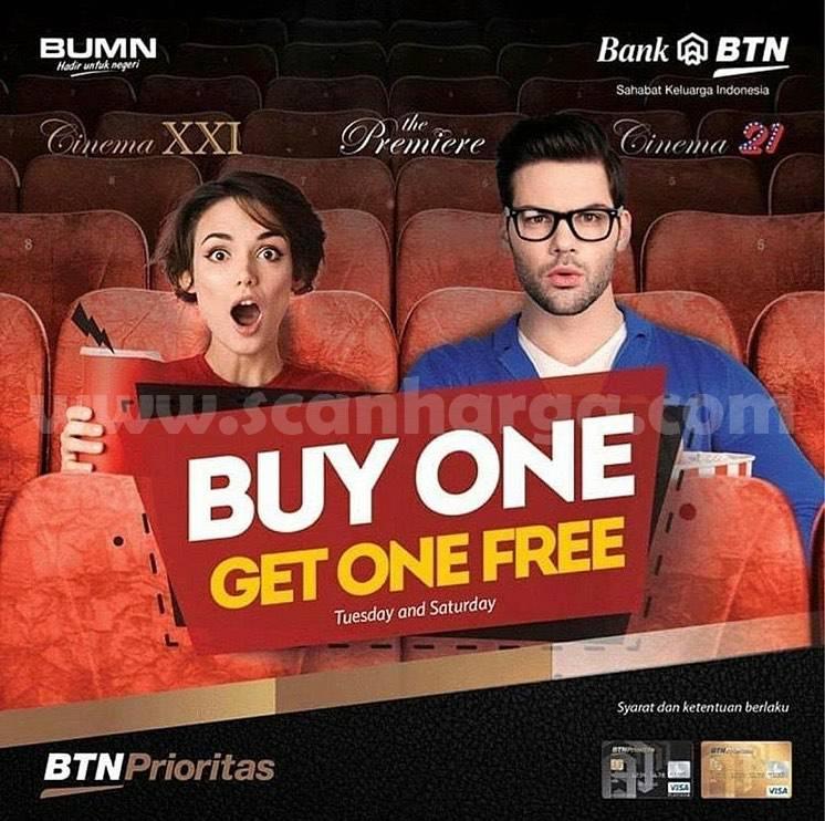 Promo Cinema XXI BELI 1 GRATIS 1 dengan menggunakan Kartu Debit BTN Prioritas