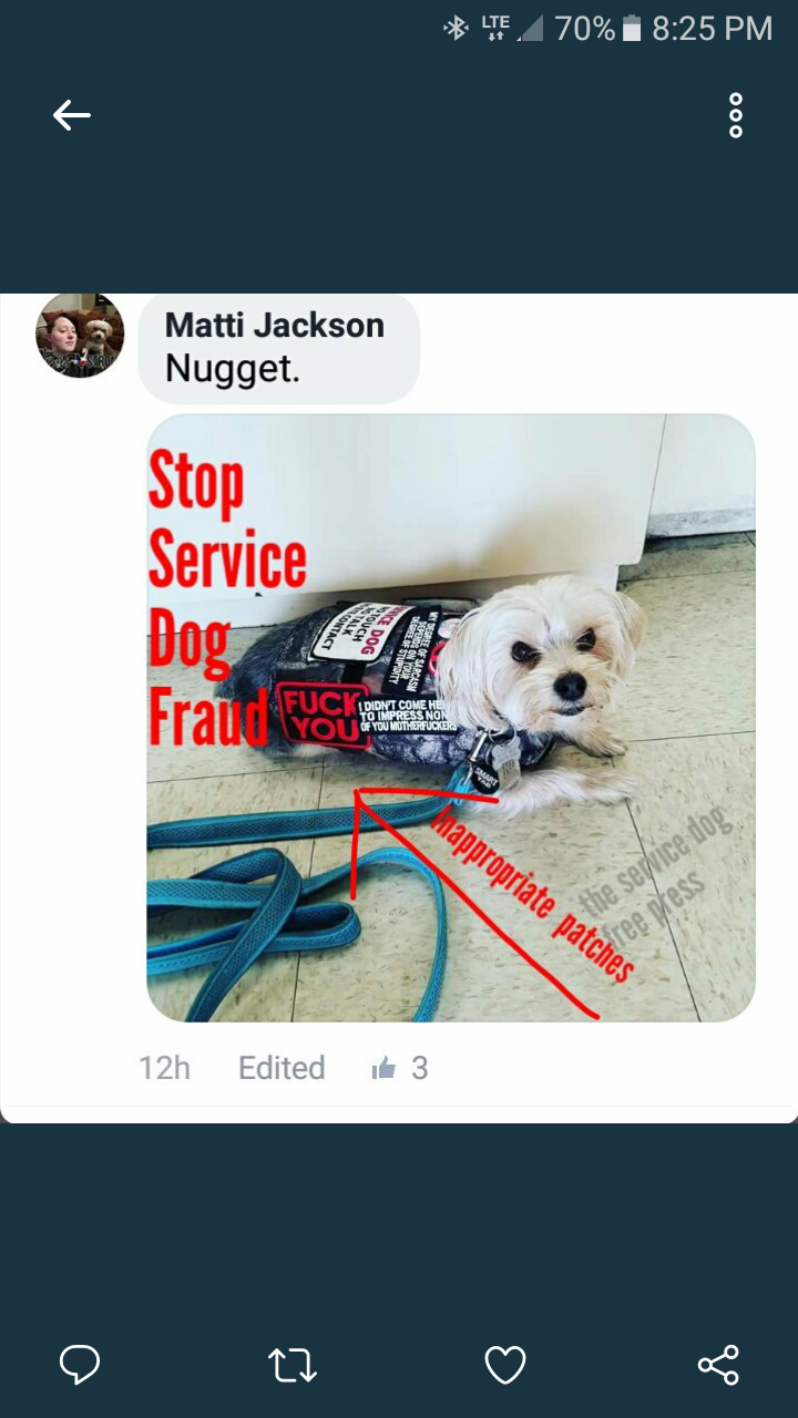 Self entitled emotional support animal asswipes the service dog these people are the equivalent of dog shit stuck to the bottom of a shoe 1betcityfo Images