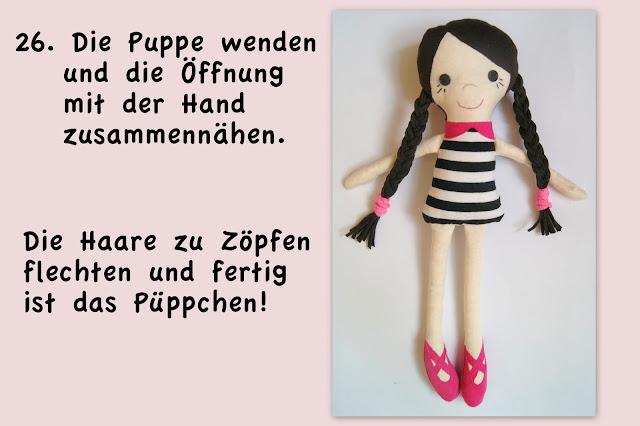Stoffpuppe, rag doll, free tutorial, Nähanleitung, Schnittmuster, Geburtstagsgeschenk, Ballerina,