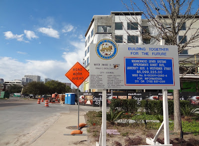 Road Work Ahead warning sign - City of Houston Infrastructure Improvement Project sign