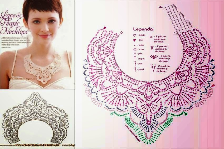 Aplique de cuello o collar al crochet