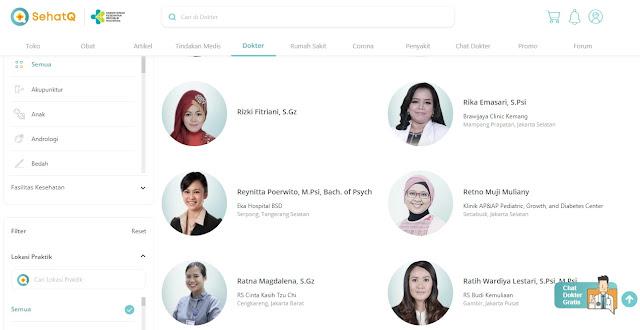 Tampilan direktori dokter dalam SehatQ.com. (dok)