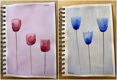 Simple watercolour tulip paintings in pink and blue