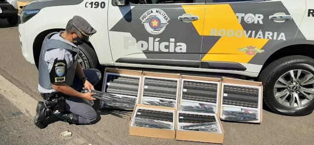 Fiscalização apreende bloqueadores de sinal de telefonia em porta-malas de carro na SP-270