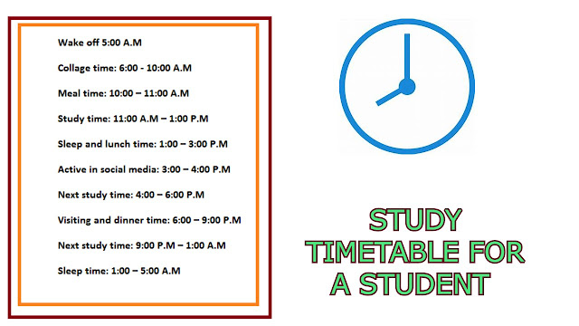 Schedule for Students, STUDY TIMETABLE