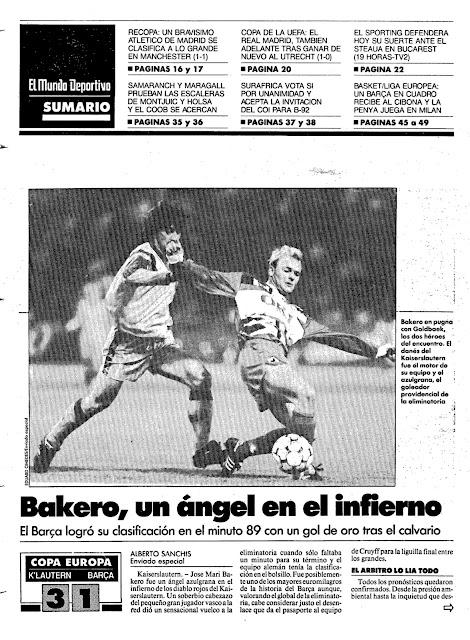 Mundo Deportivo Bakero Barcelona Kaiserslautern