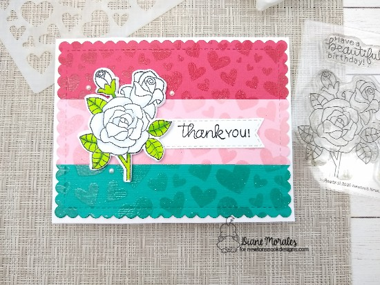 Thank you by Diane features Roses, Tumbling Hearts, and Frames & Flags by Newton's Nook Designs; #newtonsnook, #inkypaws, #cardmaking