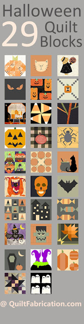 29 halloween themed quilt blocks from Quilt Block Mania