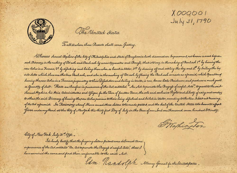 The first patent issued by the US Patent Office
