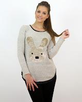Pulover Tricotat cu Imprimeu Iepuraș