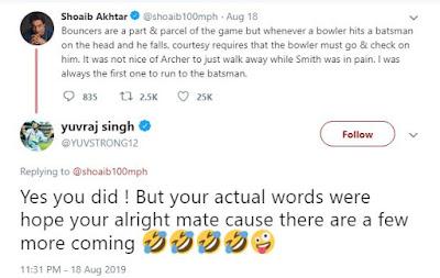 Yuvraj Singh Hilariously Trolls Shoaib Akhtar For Jofra Archer Comments