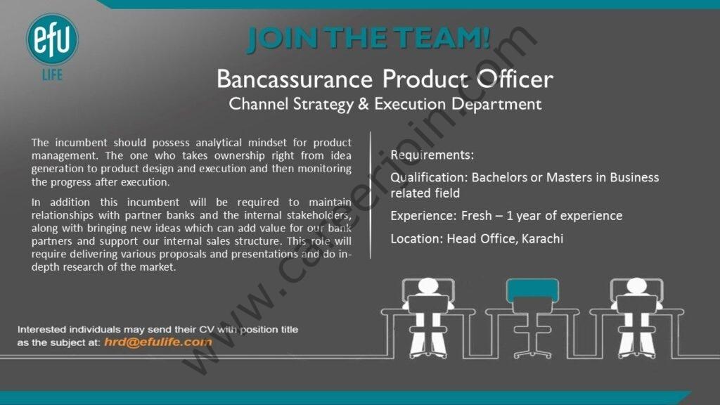 hrd@efulife.com - EFU Life Assurance Ltd Jobs 2021 in Pakistan