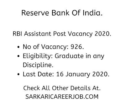 RBI assistant vacancies 2020 latest government job vacancies.