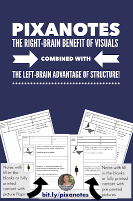 Get the right-brain benefit of visuals combined with the left-brain advantage of structure with Pixanotes!  #teaching #visualnotes #notes