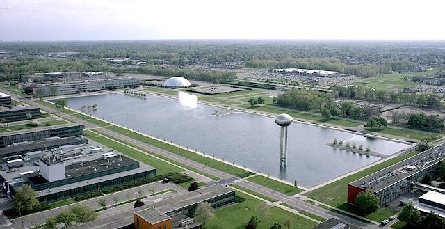 an industrial park by Eliel Saarinen, in a birds eye photograph