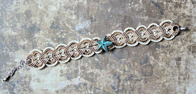 Starfish macrame bracelet by Sherri Stokey of Knot Just Macrame.