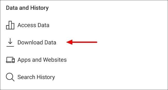 انقر فوق زر تنزيل البيانات في إعدادات تطبيق Instagram