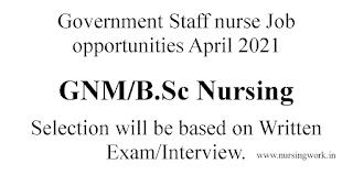 Staff Nurse Jobs April 2021