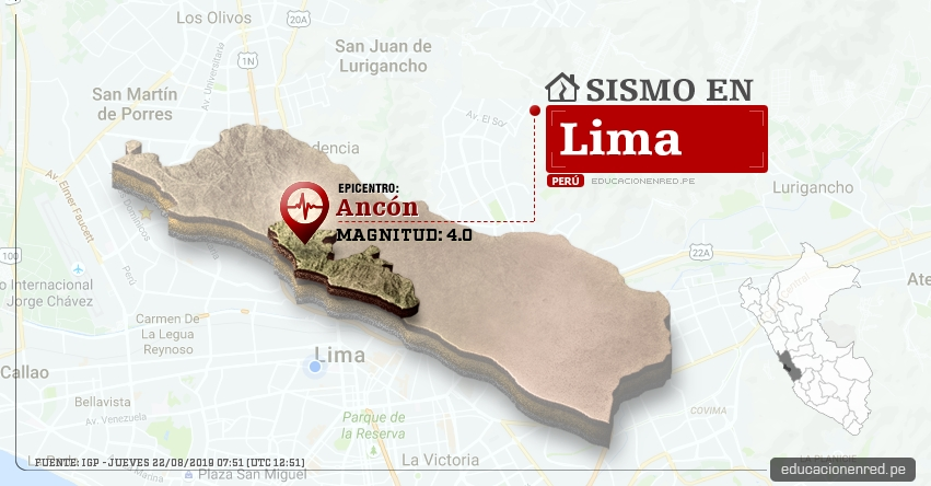 Temblor en Lima de Magnitud 4.0 (Hoy Jueves 22 Agosto 2019) Sismo - Epicentro - Ancón - IGP - www.igp.gob.pe