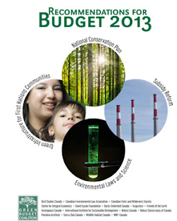 Image of 4 circles with text saying recommendations for Budget 2013