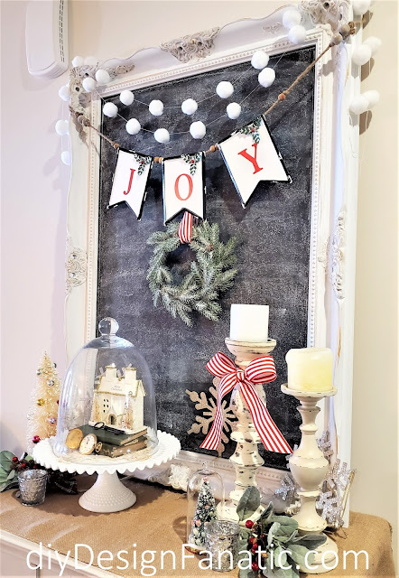 cloche, Christmas, Christmas foyer vignette, Christmas decor,  Christmas decorating, Vintage Home Studio, farmhouse finds