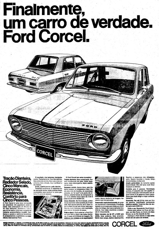 Propaganda antiga do Ford Corcel apresentando as vantagens do automóvel no ano de seu lançamento
