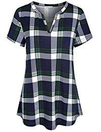 Buy Women's Notch V Neck Long Sleeve Pleat Knit Henley Tunic Shirt