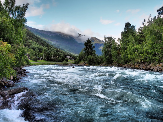 Řeka Bovra, Lom, Norsko, příroda, trek