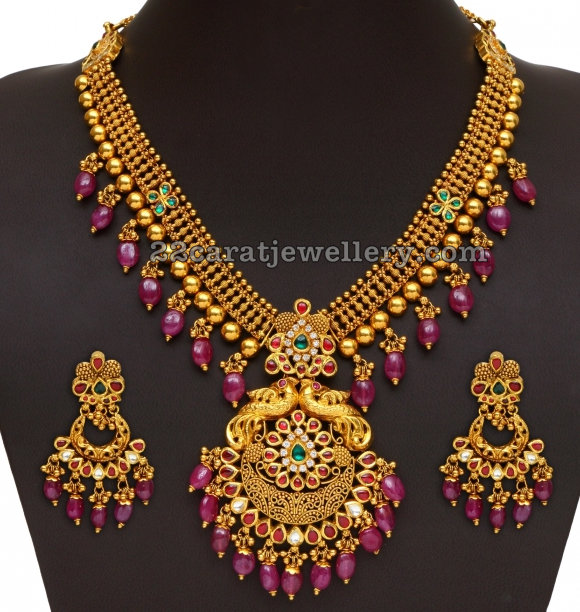 Gold long Chain with Ruby Drops