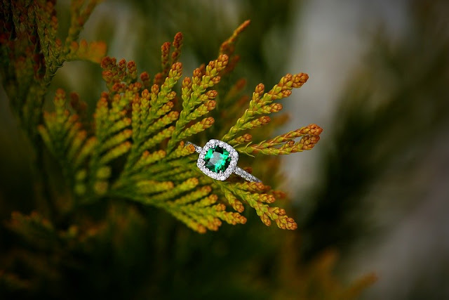 engagement ring on a leaf