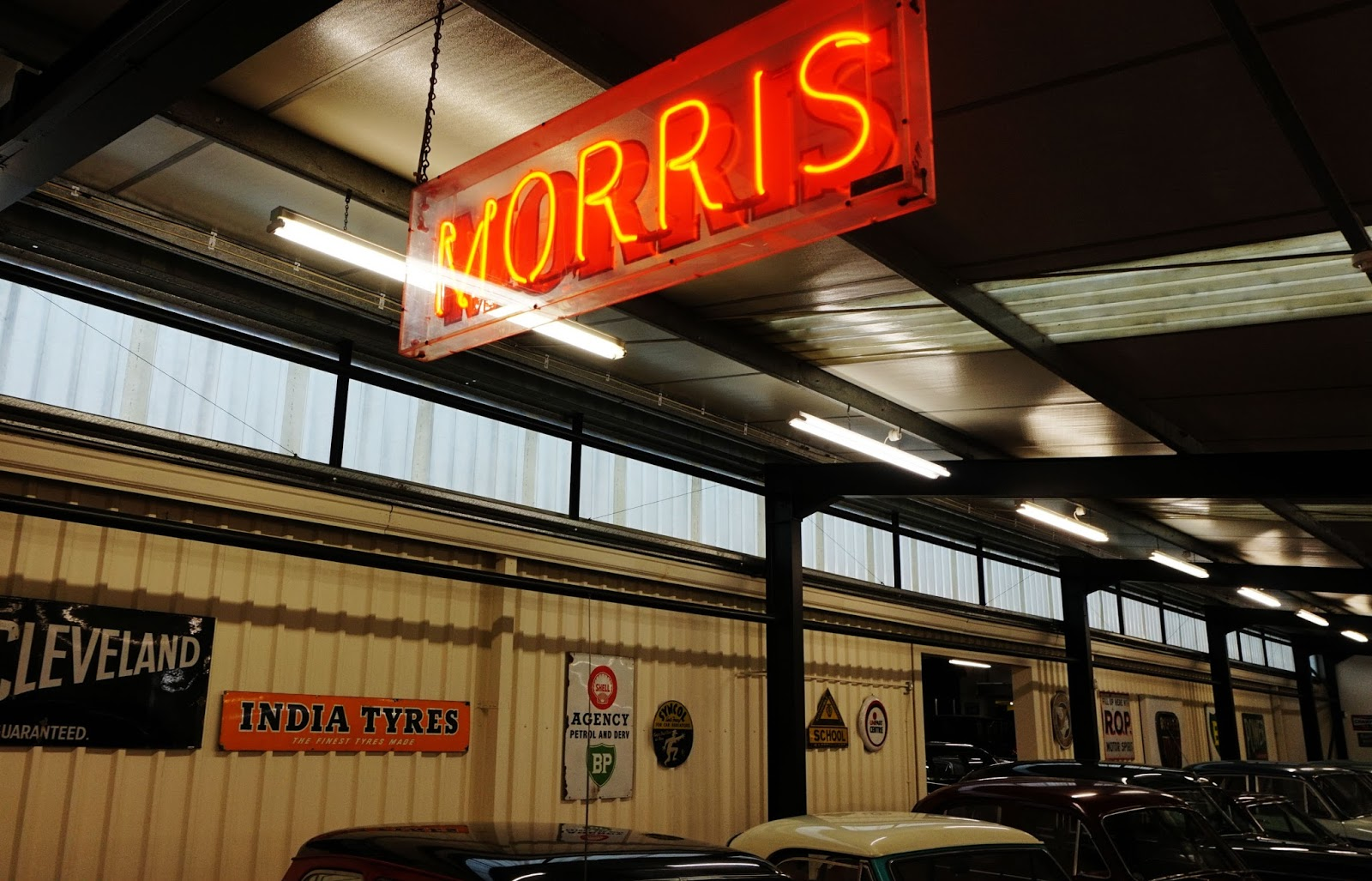 morris minor classic car lights sign haynes motor museum