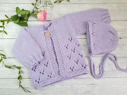 Lavender baby jumper and bonnet set lavender