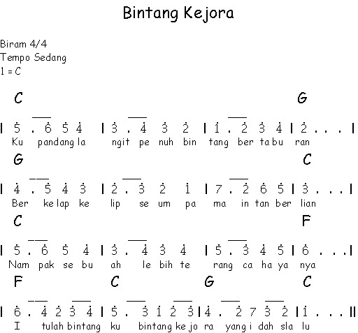 Not Angka Lagu Bintang Kejora Not Lagu Nasioanl Lengkap