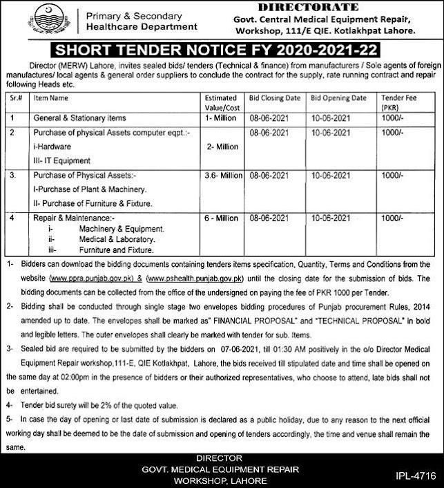 primary-secondary-healthcare-tender-2021